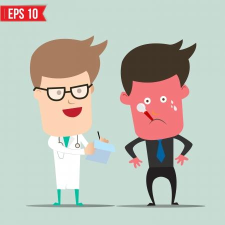 patients: Cartoon Doctor and patient - Vector illustration