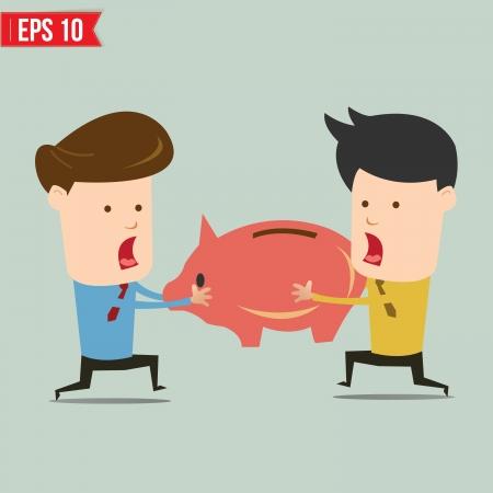 snatch: Man snatch Piggy bank - Vector illustration