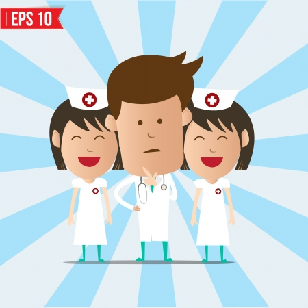 clinical staff: Cartoon doctor and nurse smile and thinking - Vector illustration