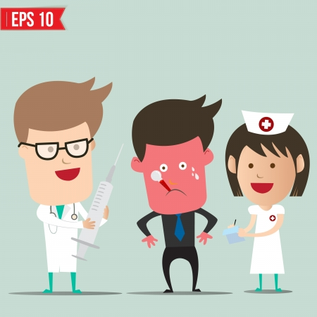 dosage: Cartoon Doctor and patient - Vector illustration - EPS10 Illustration