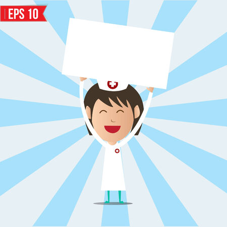 enfermero caricatura: Enfermera de dibujos animados que muestra tablero en blanco - ilustraci�n vectorial