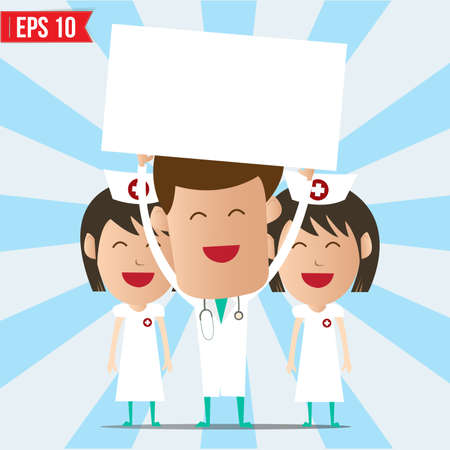 clinical staff: Cartoon doctor and nurse smile and show twhite board - Vector illustration