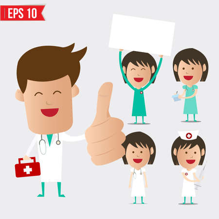 doctor cartoon: Medical doctor cartoon set - Vector illustration - EPS10