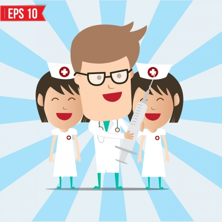 clinical staff: Cartoon doctor and nurse smile and using syringe - Vector illustration  Illustration