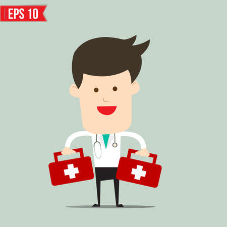 Doctor carry suitecase for emergency service - Vector illustration  Vector