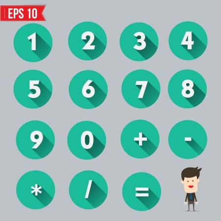 Numbers and Mathematical Symbols flat and long shadow icon - Vector illustration Ilustração
