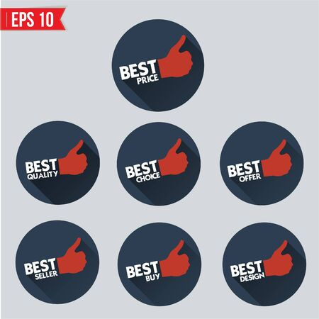 Best badge tag long shadow design - Vector illustration