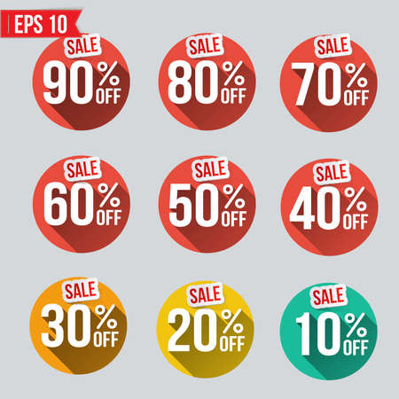 sell out: Discount tag flat and long shadow design - Vector illustration
