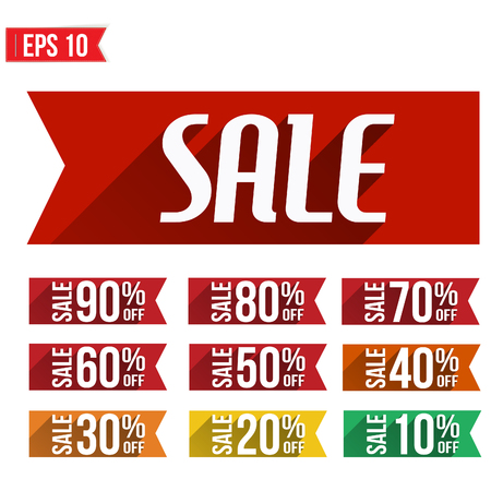 Discount tag flat and long shadow design - Vector illustration  Vector