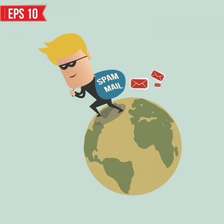 spam mail: Thief and spam mail - Vector illustration - EPS10