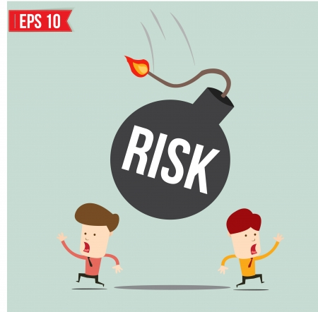 manage: Businessman run away from risk bomb  Illustration