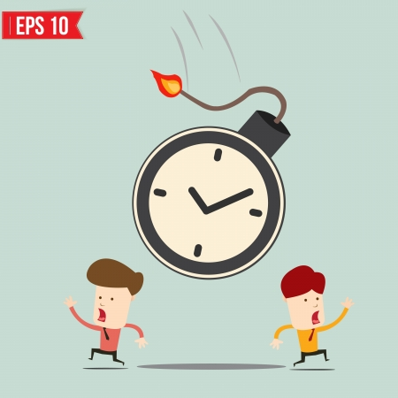 time bomb: Businessman run away from time bomb