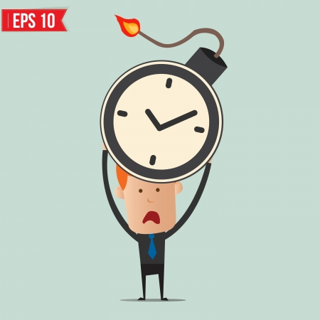 Businessman hold  time bomb  Vector