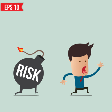 heavy risk: Businessman run away from risk bomb  Illustration