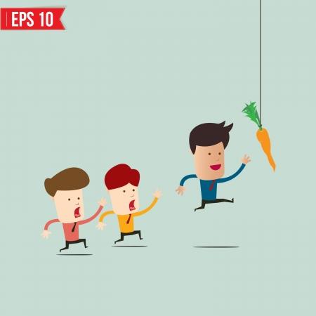Hombre de negocios intenta alcanzar la zanahoria - ilustración vectorial