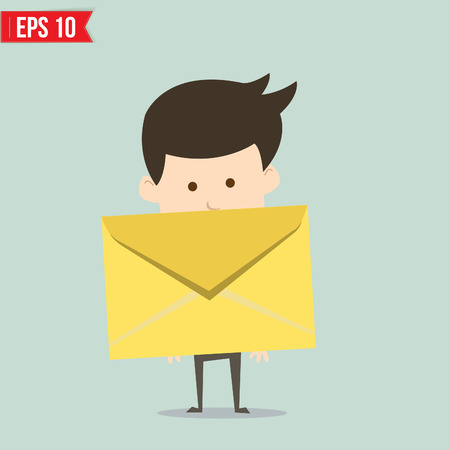 Business man holding envelope  Illustration