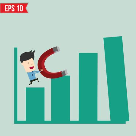 bar magnet: Business man use magnet pull graph - Vector illustration