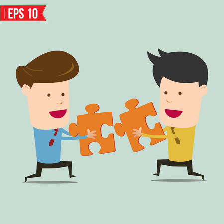 Businessman assembling jigsaw puzzle and represent team support and help concept - Vector illustration  Vector