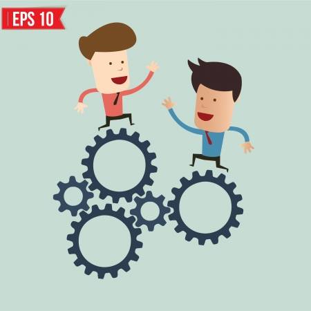 Businessman with gears - Vector illustration Illustration