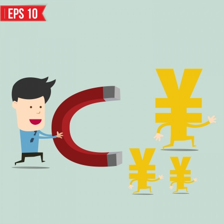run away: Business man use magnet trying to catch money  - Vector illustration
