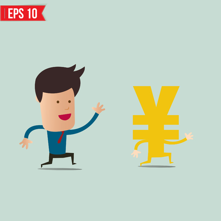 flying man: Business man trying to catch money  - Vector illustration