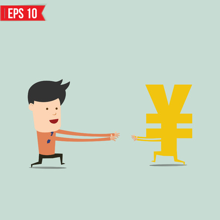 inflation: Business man trying to catch money  - Vector illustration