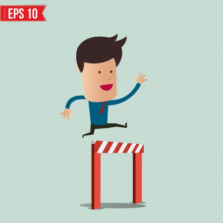 business obstacle: Business Man jumping over an obstacle on the way to success - Vector illustration