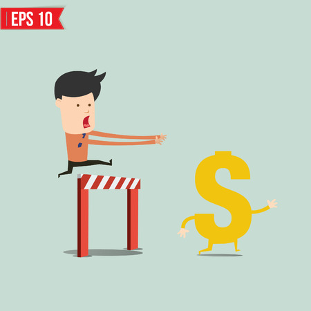 financial obstacle: Business man trying to catch money  - Vector illustration