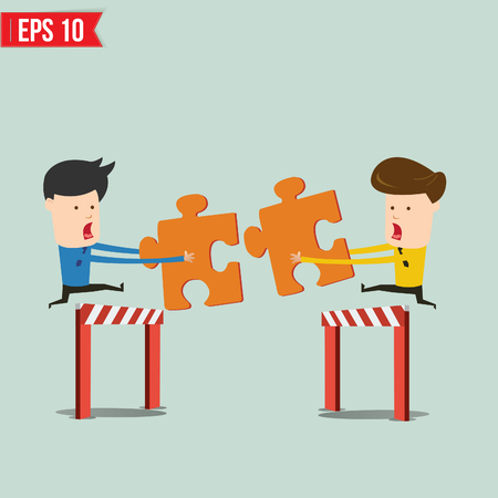 Businessman assembling jigsaw puzzle and represent team support and help concept  Vector