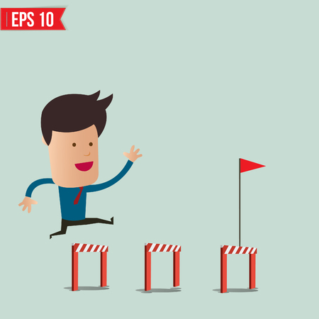 Business Man jumping over an obstacle on the way to success - Vector illustration  Vector