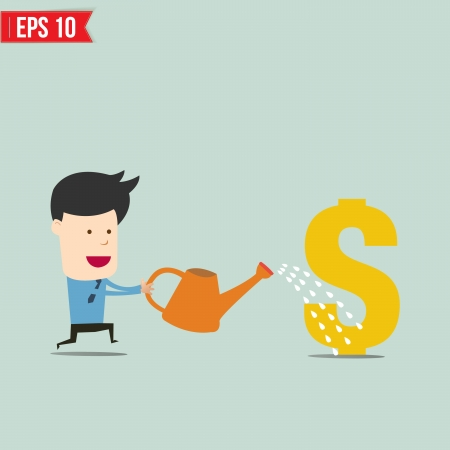 Businessman watering money  - Vector illustration  Vector