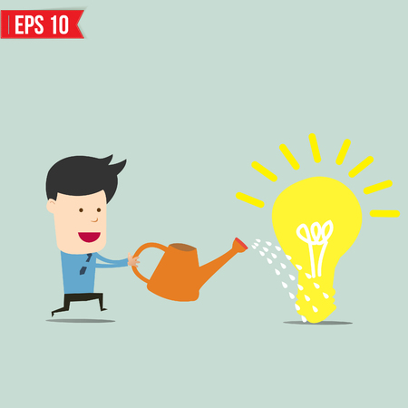 Businessman watering idea  - Vector illustration