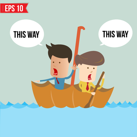 raft: Cartoon business man  rowing a boat in his Umbrella