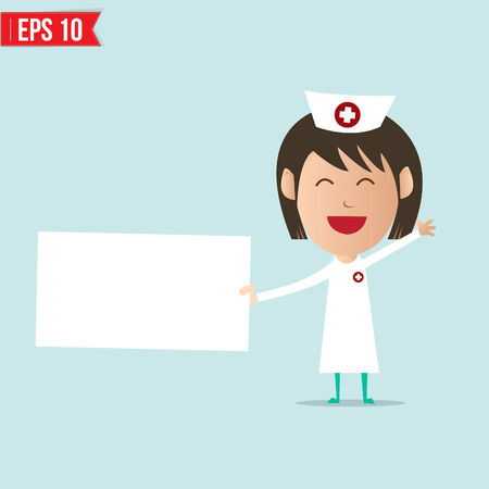 Nurse show blank board  Vector