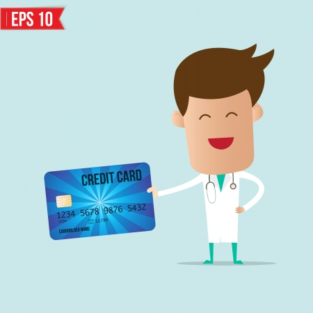 Doctor holding credit card  Vector