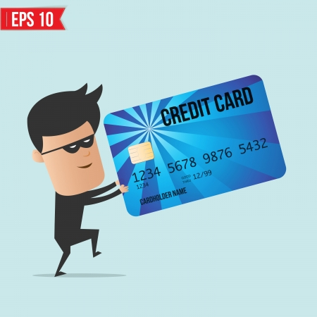 hack: A thief with a credit card  Illustration