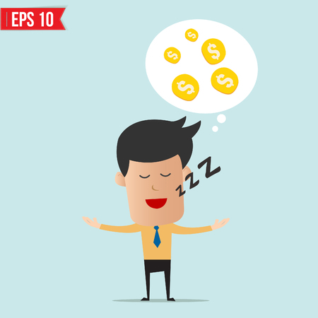 hoping: Business man daydream about money