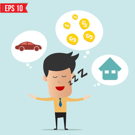 Business man daydream about money house and car  Illustration