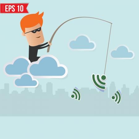 snuffelen: Hacker sniff draadloze netwerk Fishing Concept Stock Illustratie