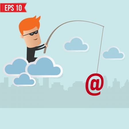 hacked: Hacker steal data on cloud computing for phishing concept  Illustration