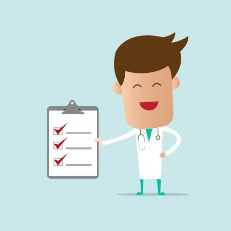Doctor holding checklist note  Vector