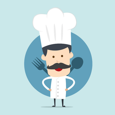 speciality: Chef show spoon and fork  Illustration