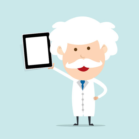 Professor hold touch screen device  Vector