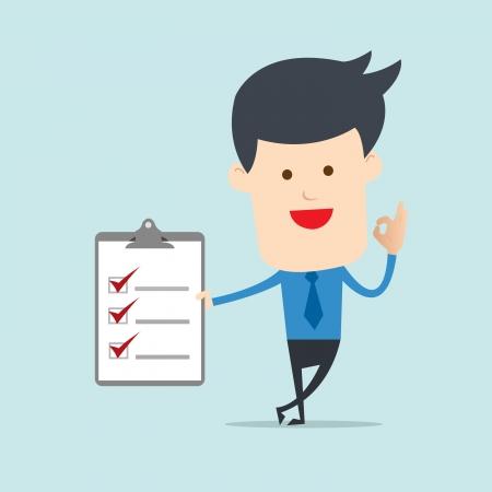 Business man show checklist note  Illustration