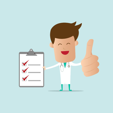 medical notes: Doctor with checklist note  Illustration