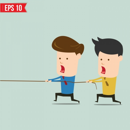 tug war: Two businessmen playing tug of war  Illustration
