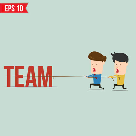 Two businessmen playing tug of war pull business word  Vector