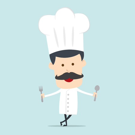 Chef show spoon and fork  Ilustrace