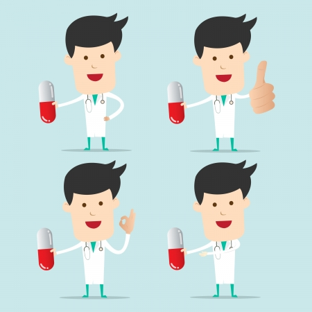 Cartoon Doctor character use hand showing one capsule  Vector