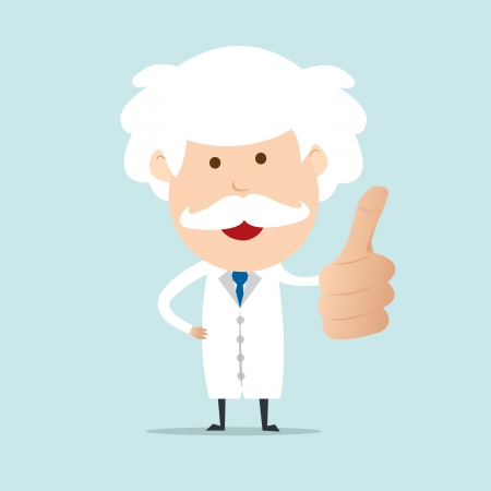 physic: Professor show thumb up   Illustration